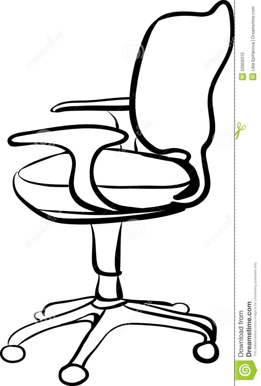 Office Chair Sketch Linear Illustration