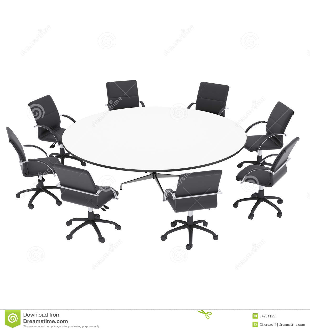 huge discount cff8d 8fe5f Office Chairs And Round Table Stock Illustration ...
