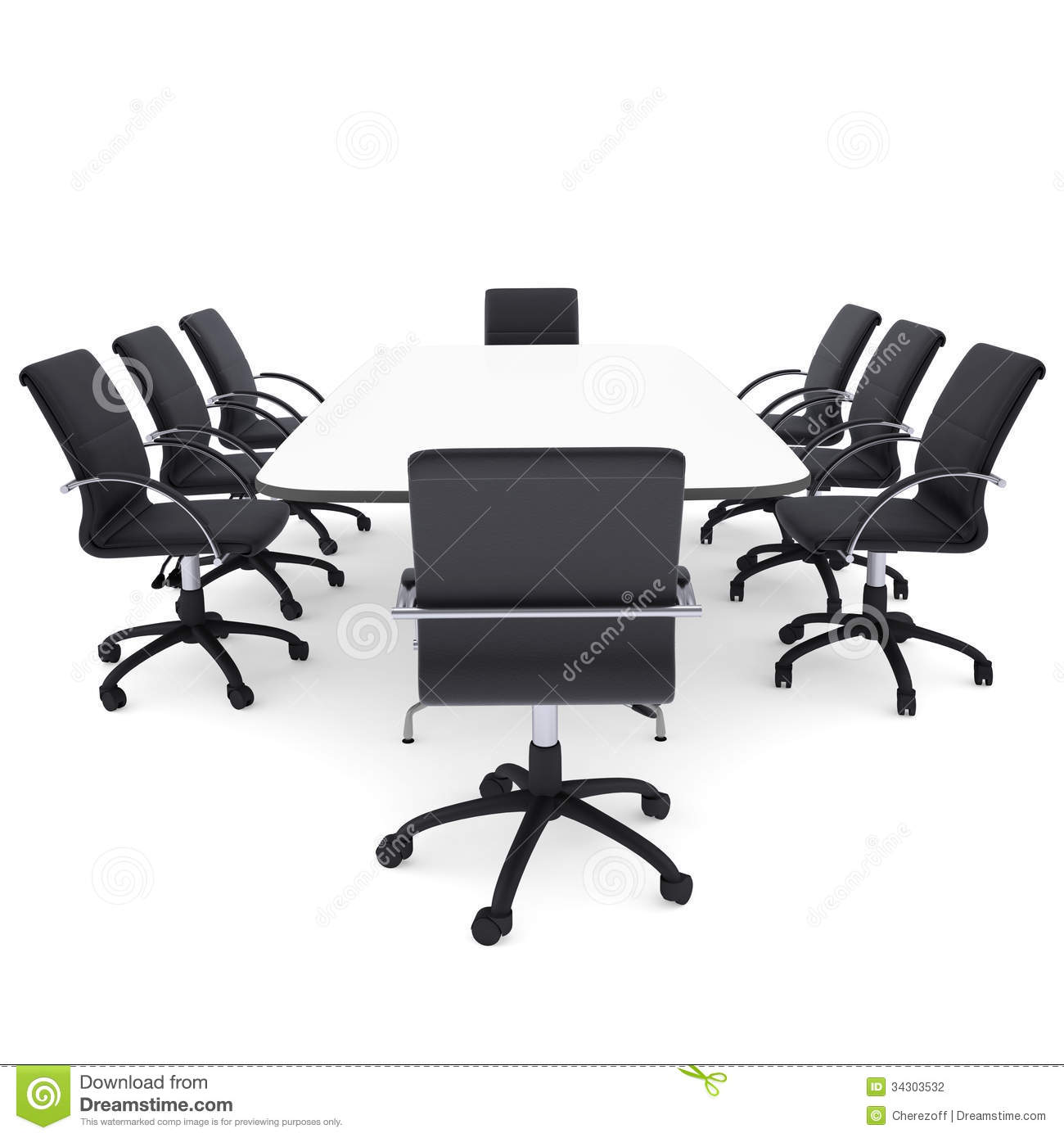 Round Office Table with Chairs