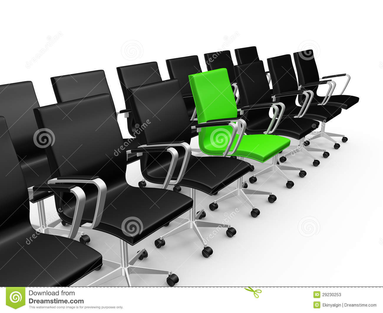 Office Chairs In A Row With Green Chair Stock Illustration