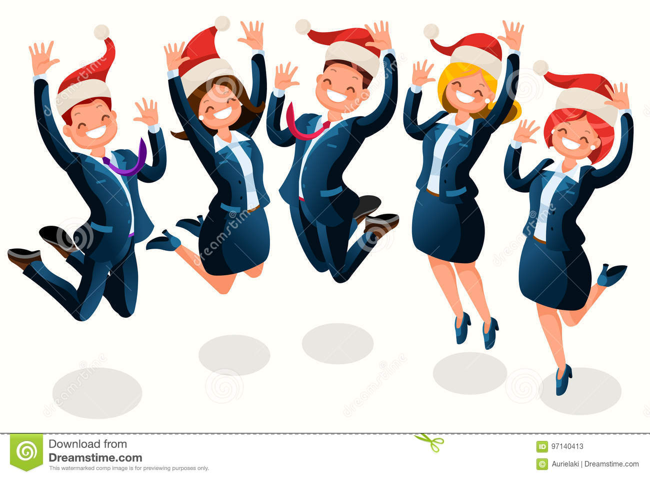 Office Christmas Party Isometric People Cartoon Stock Vector ...