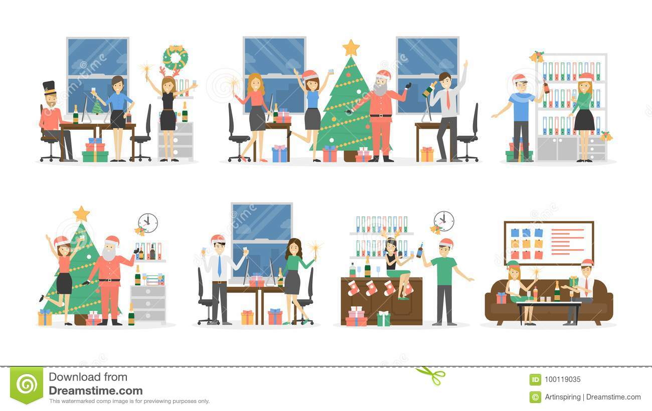 Office Christmas party. stock vector. Illustration of female - 100119035