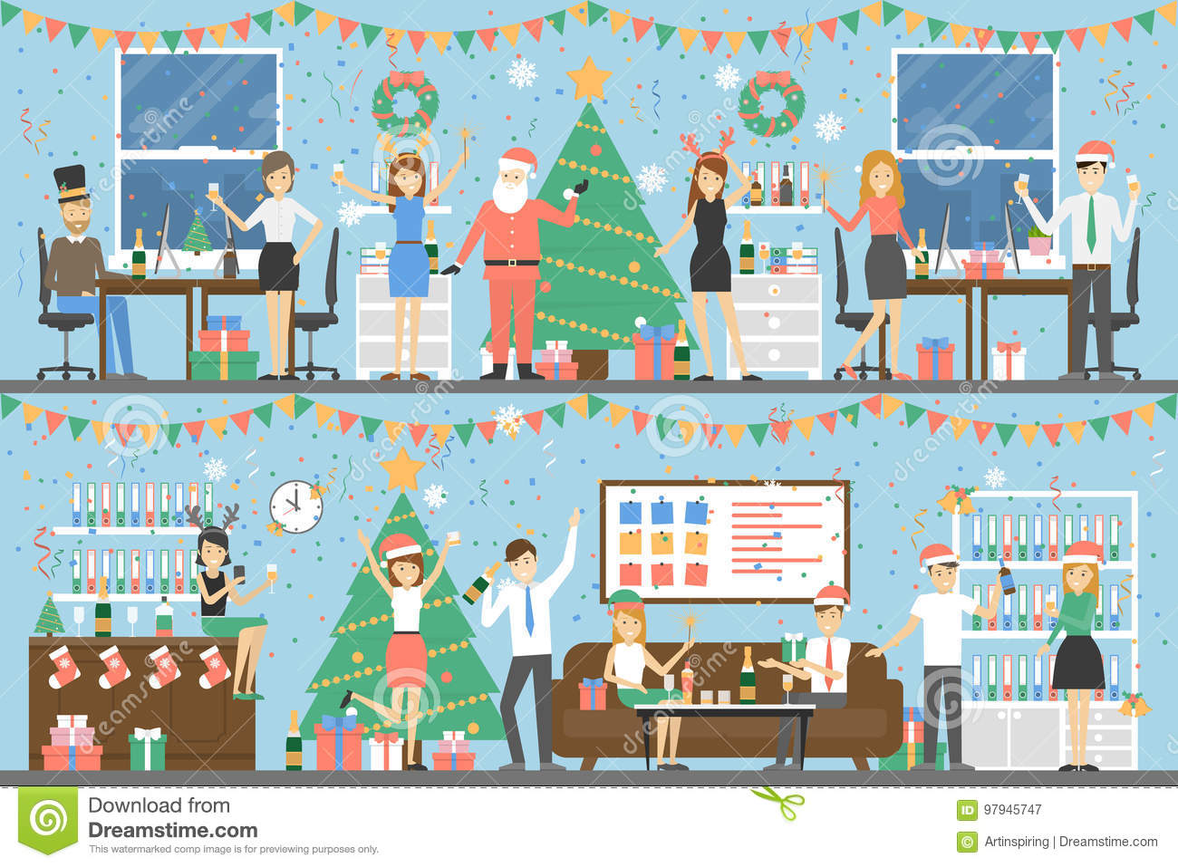 Office Christmas party. stock vector. Illustration of illustration ...
