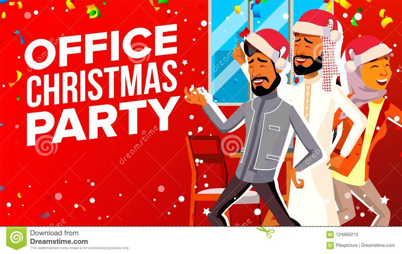Office Christmas Party Vector. Celebrating New Year. Group People In ...