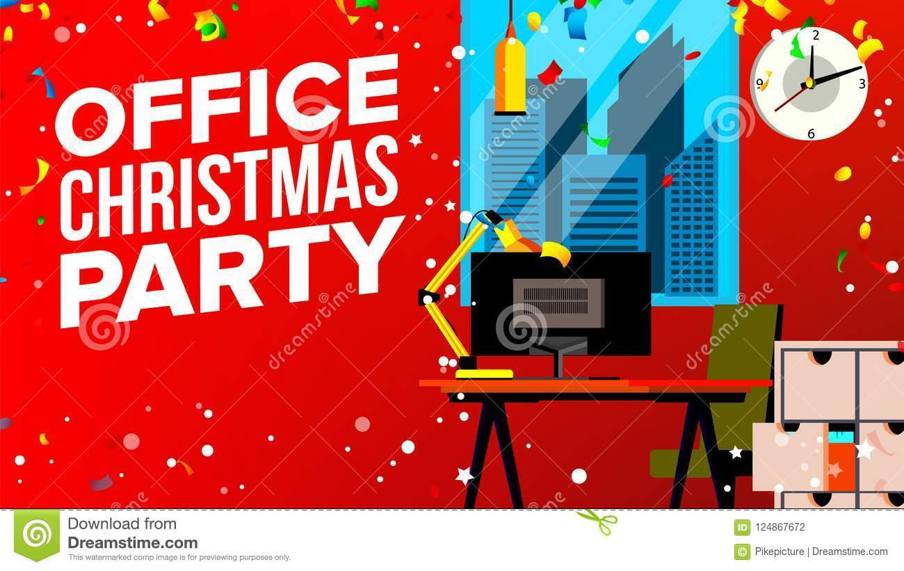 Office Christmas Party Vector. Merry Christmas And Happy New Year ...