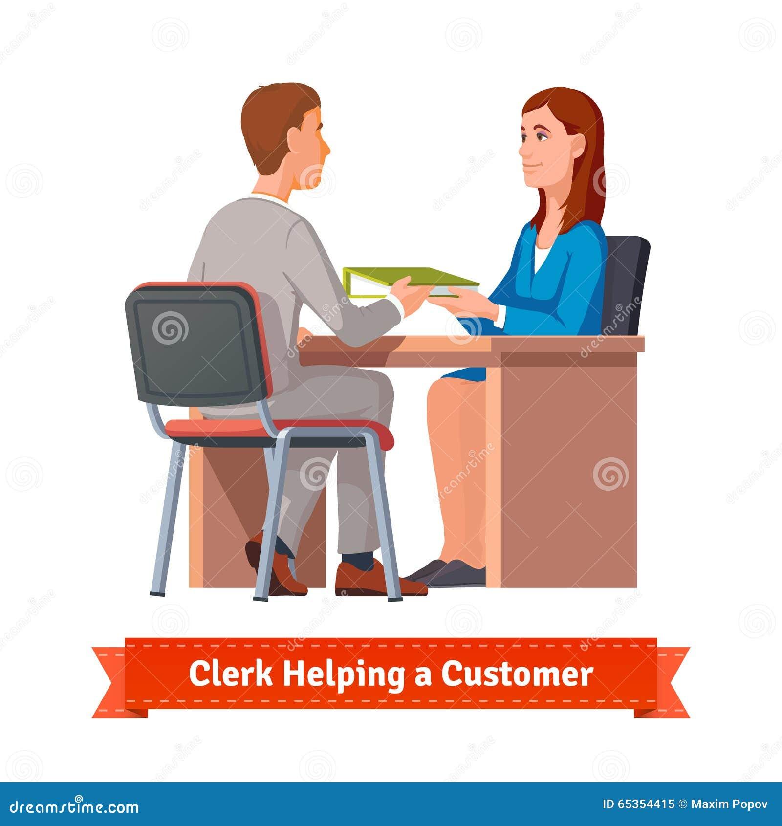 office clerk working customer stock vector image  office clerk working customer