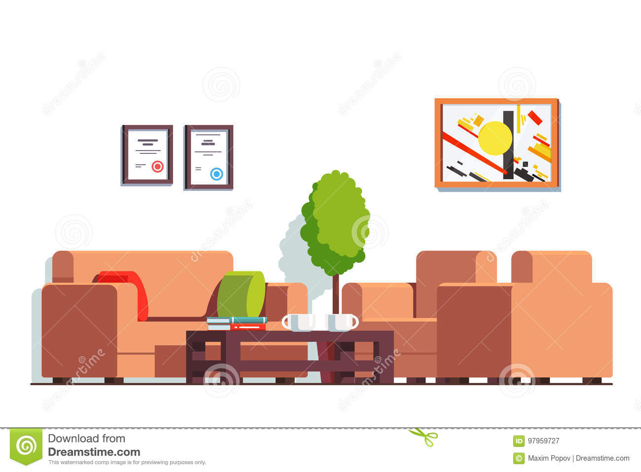 Office Or Clinic Waiting Room With Coffee Table Stock Vector ...