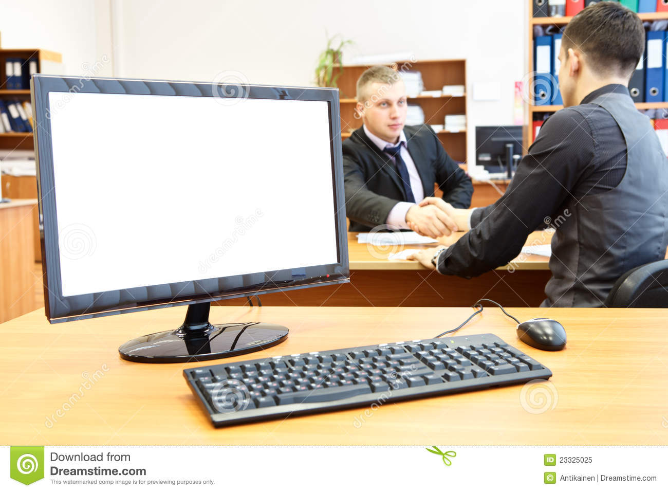 Office Computer On Desk And People Royalty Free Stock Photo - Image