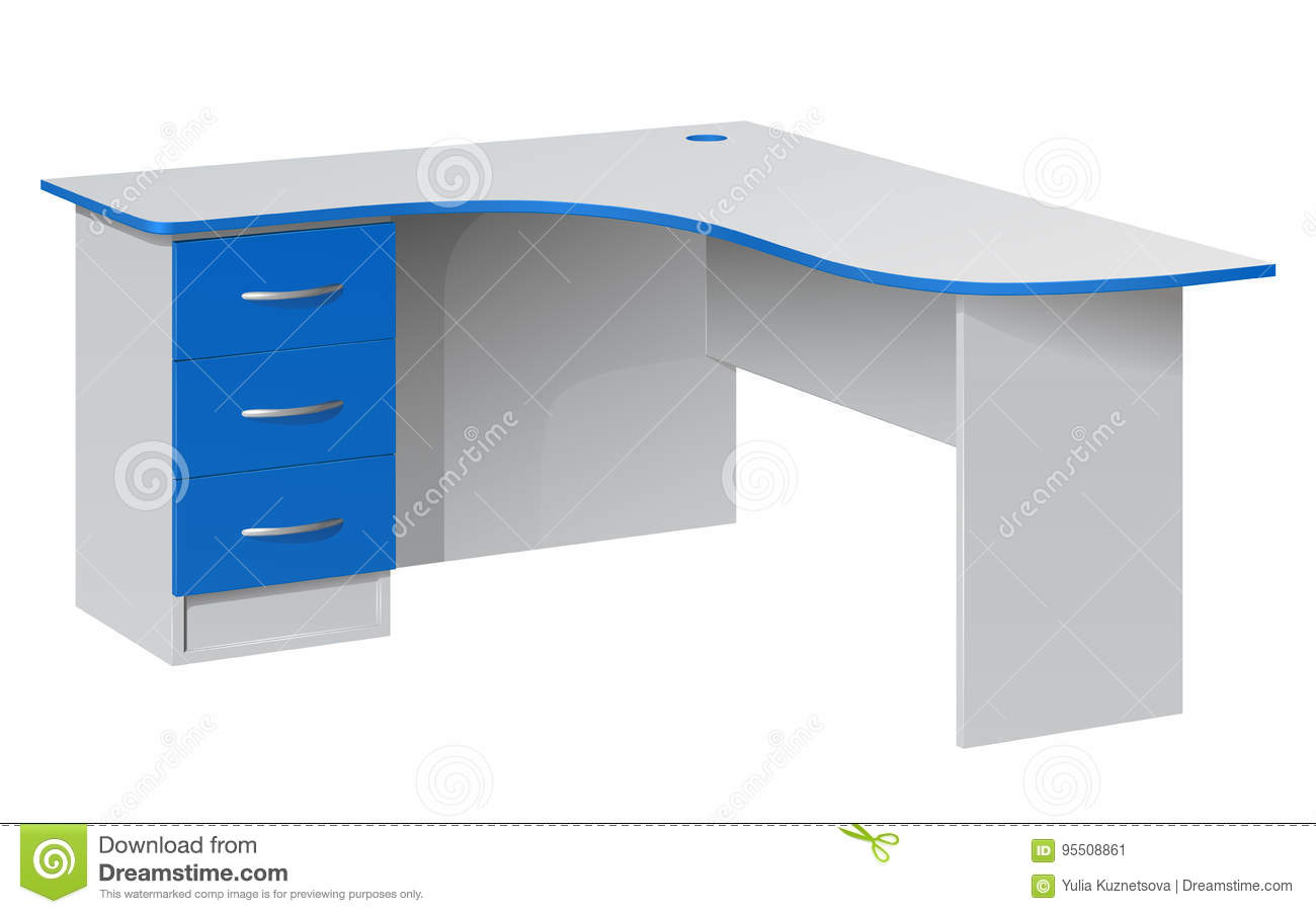 white office corner desk. Office Corner Desk With A Bedside Table Three Blue Boxes And Rounded Top Stock Vector - Illustration Of Business, Gray: 95508861 White