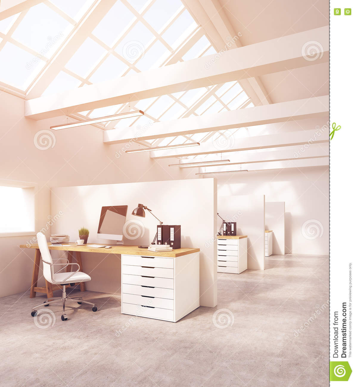 Office Cubicles In Room With Concrete Floor Stock Illustration