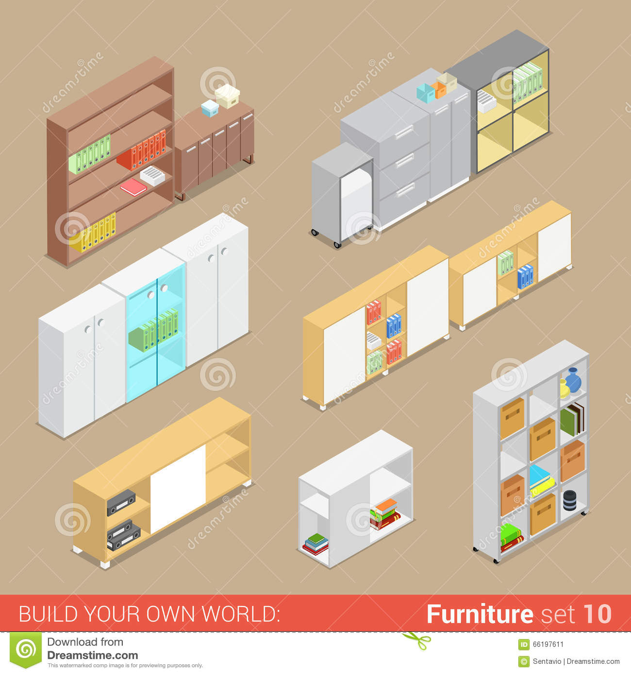 office cupboard folder shelf flat vector isometric furniture office collection d18 vector