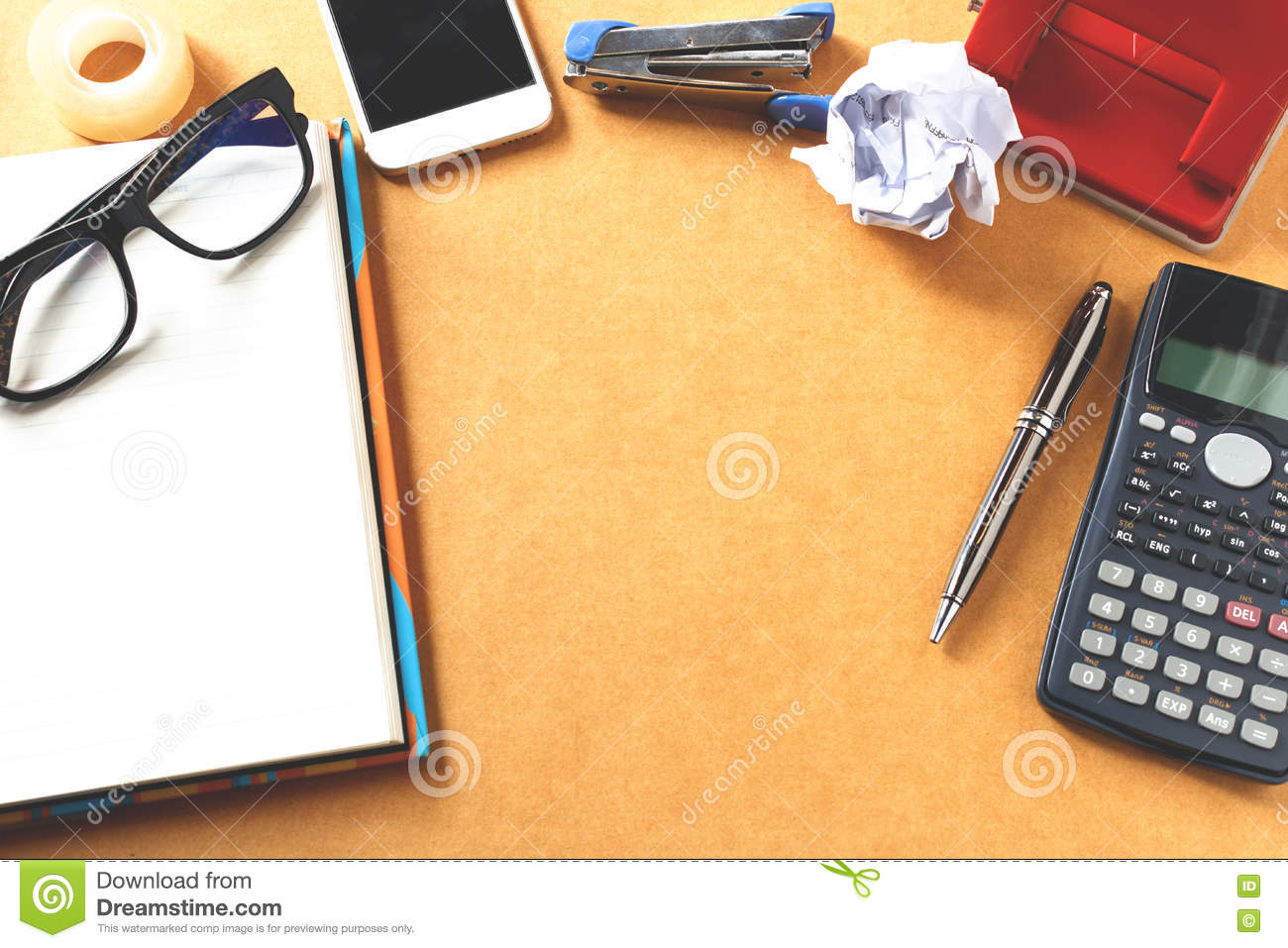 Office Desk Background With Calculator Eye Glasses On