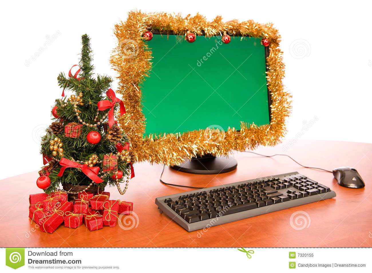 Office desk with beautiful christmas decoration royalty for Decoration bureau