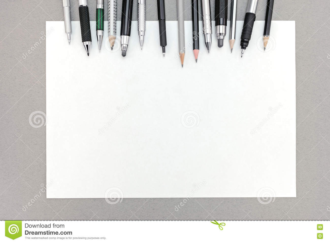 office drawing tools. Office Desk With Blank Sheet Of Paper And Various Drawing Tools