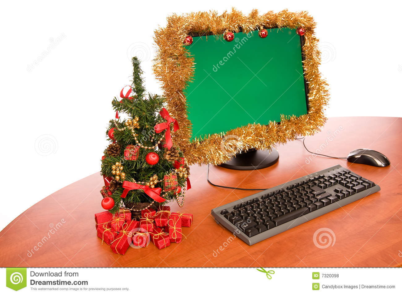 Office Desk With Christmas Decoration Stock Photo   Image Of Green, Paper:  7320098