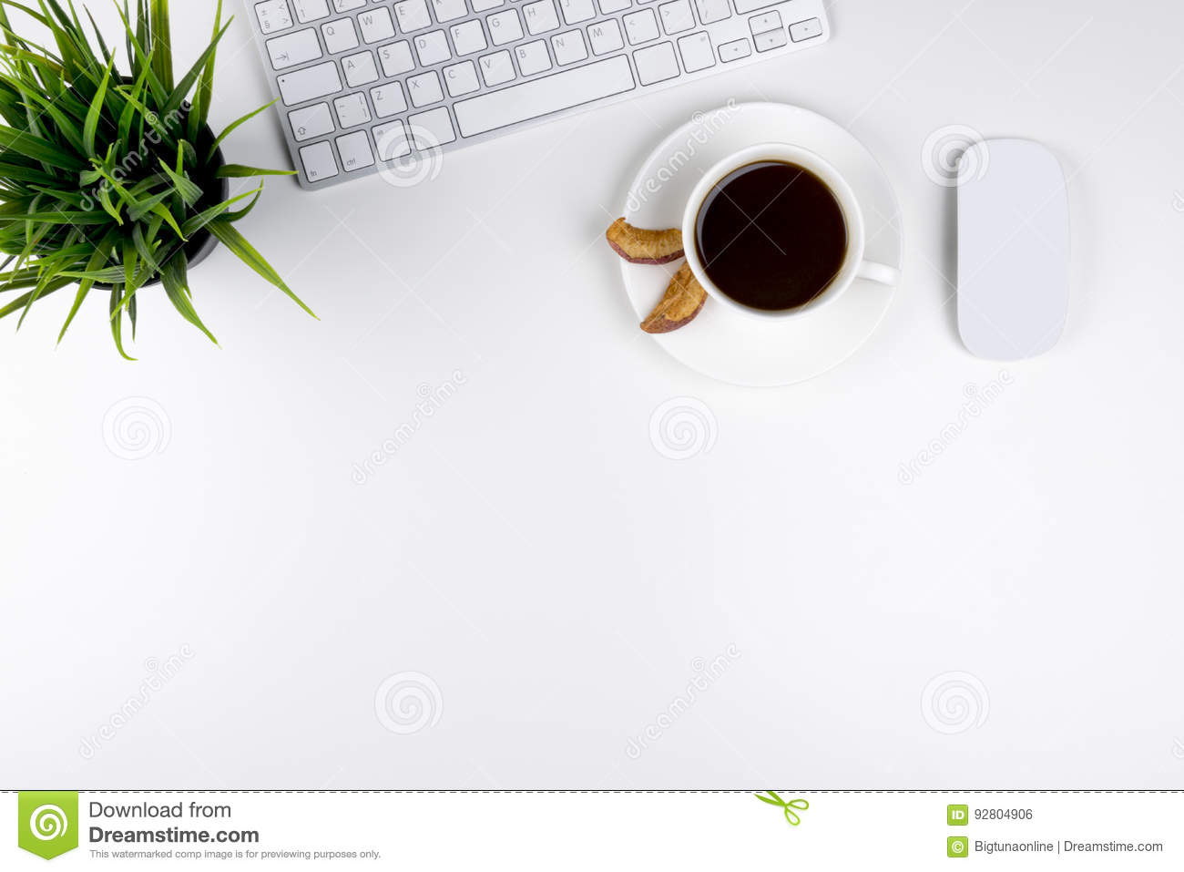 Office desk with copy space. Digital devices wireless keyboard and mouse on office table with cup of coffee, top view