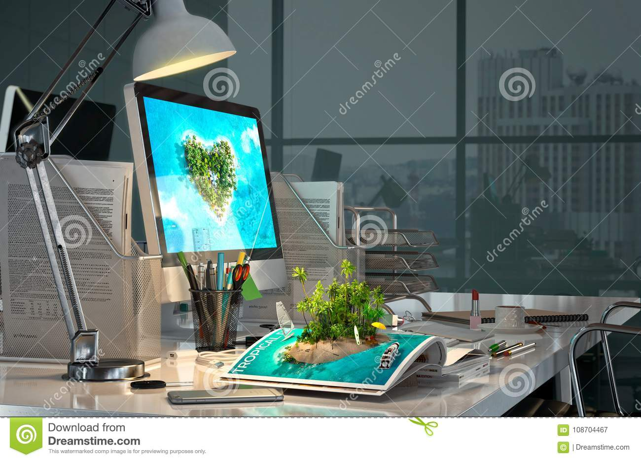 office desk at evening with computer stationery open magazine with