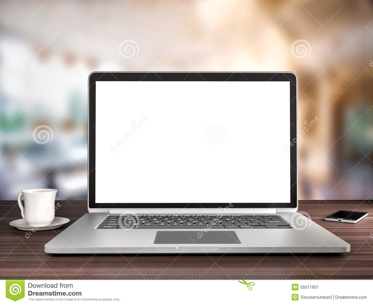 Office Desk Laptop And Coffee Stock Illustration