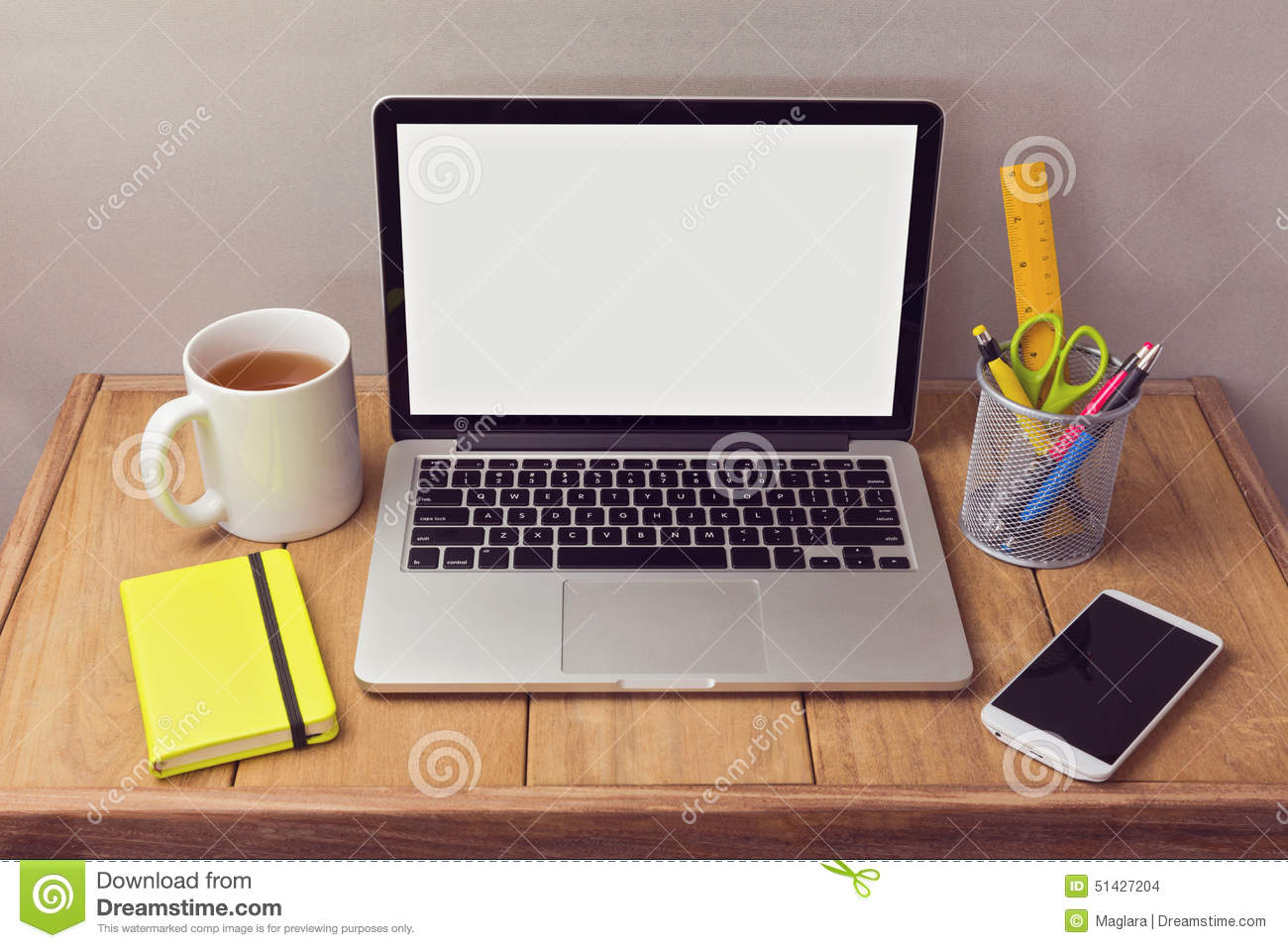 office desk mock up with laptop and office items stock photo image of blank process 51427204. Black Bedroom Furniture Sets. Home Design Ideas
