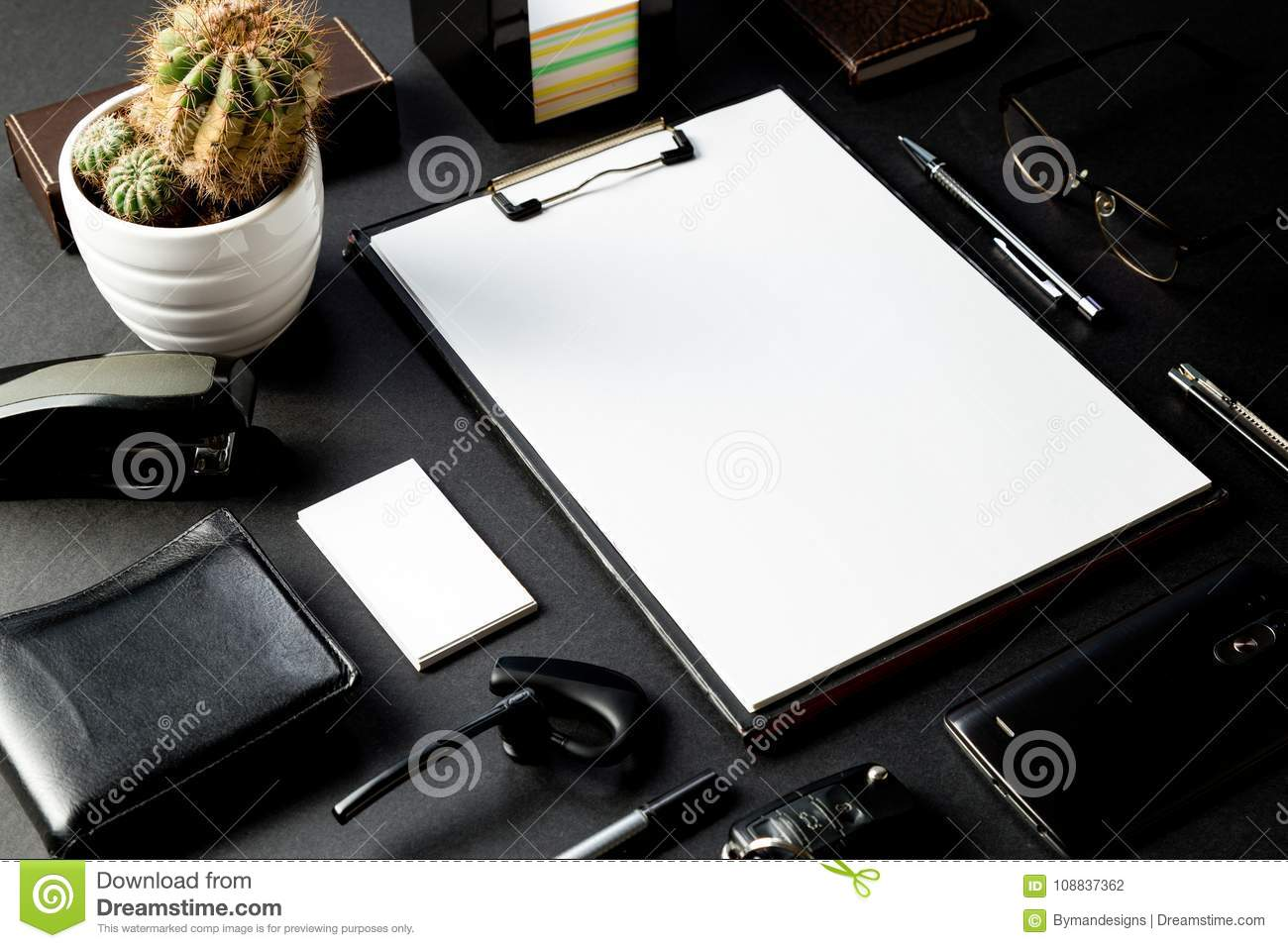 Office Desk With Mock-up Of Paperwork And Business Card Stock Photo ...