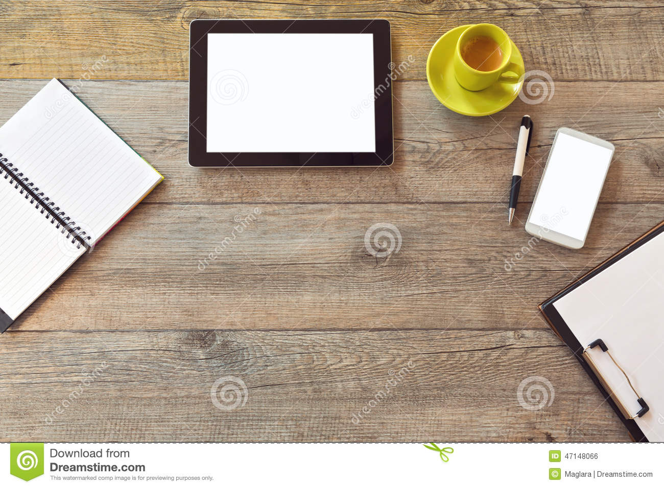 office desk mock up template with tablet smart phone notebook and cup of coffee view from. Black Bedroom Furniture Sets. Home Design Ideas