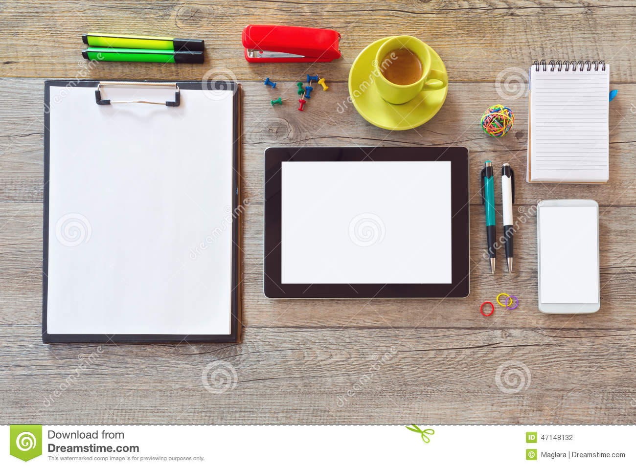 Office Desk Mock Up Template With Tablet Smart Phone Notebook And Cup Of Co