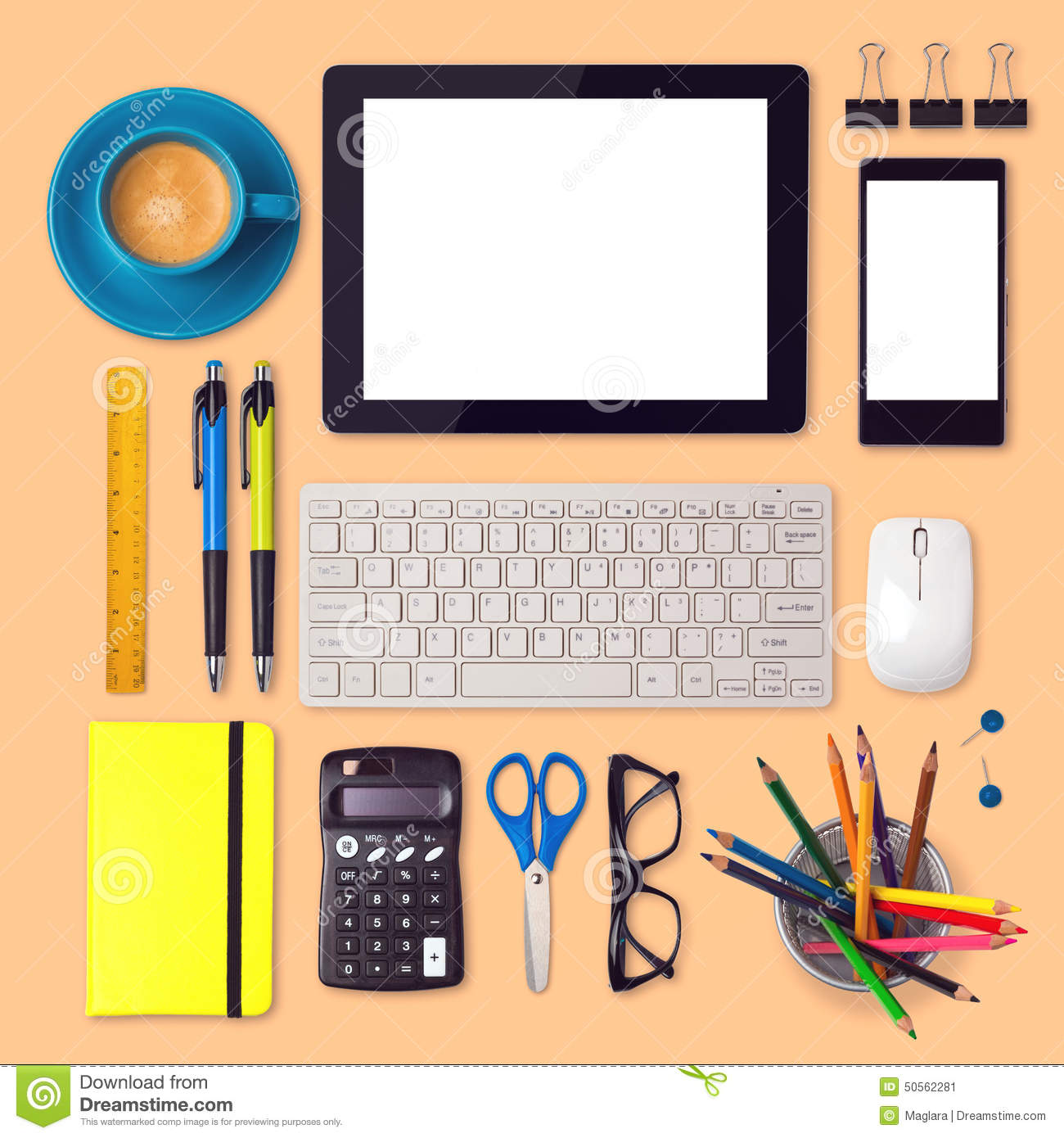 items for office desk. Download Office Desk Mock Up Template With Tablet, Smartphone And Items Stock Image - For L