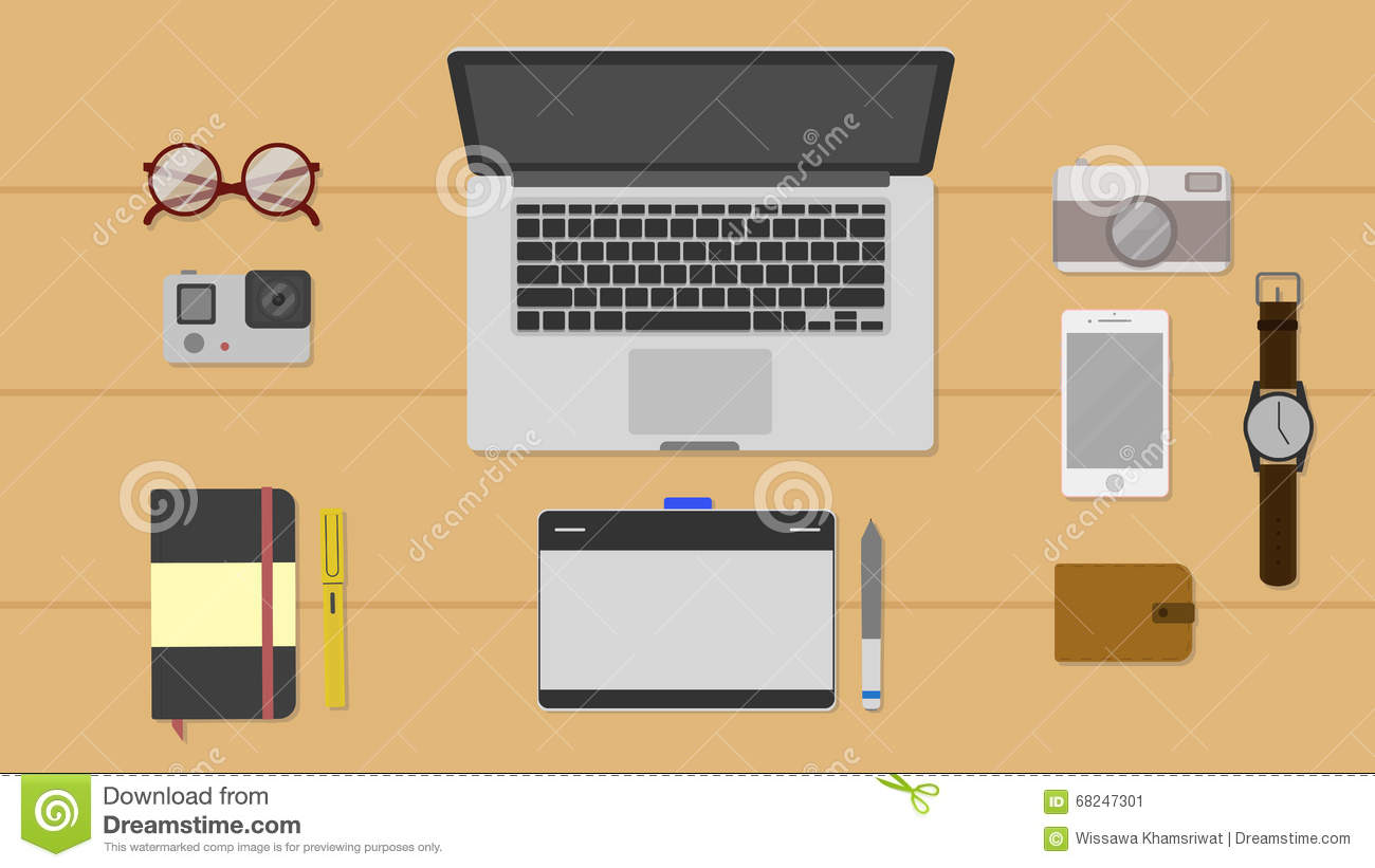 Download Office Desk. Stock Vector. Illustration Of Designer, Book    68247301
