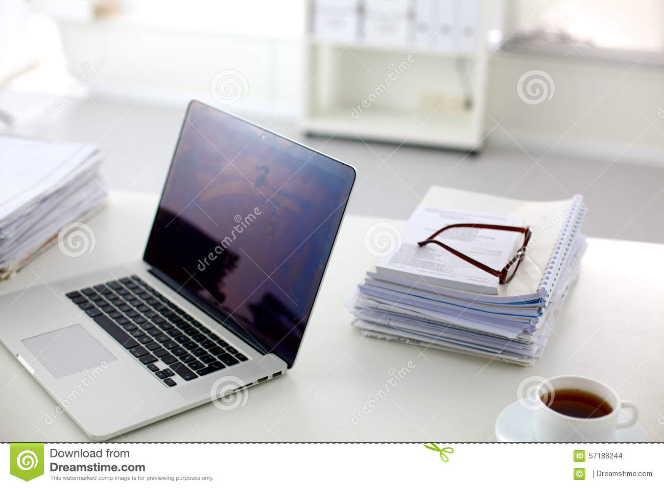 Office Desk A Stack Of Computer Paper Reports Work Stock Photo ...