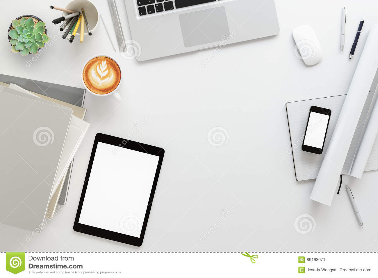 Office Desk Table With Labtop Computerblank Magazine Smart Phone