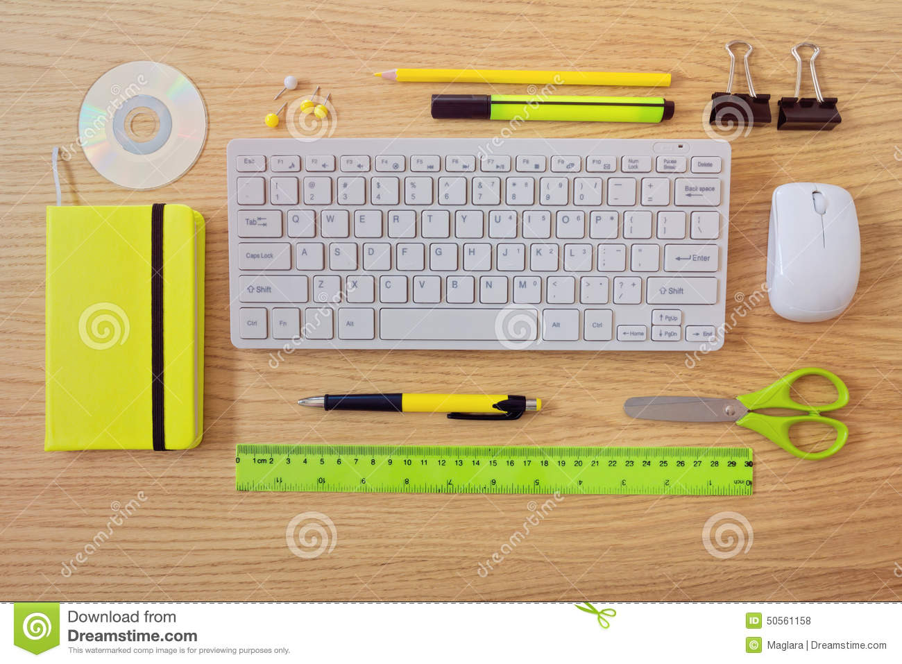 Office Desk Template With Keyboard And Office Items. View From Above ...