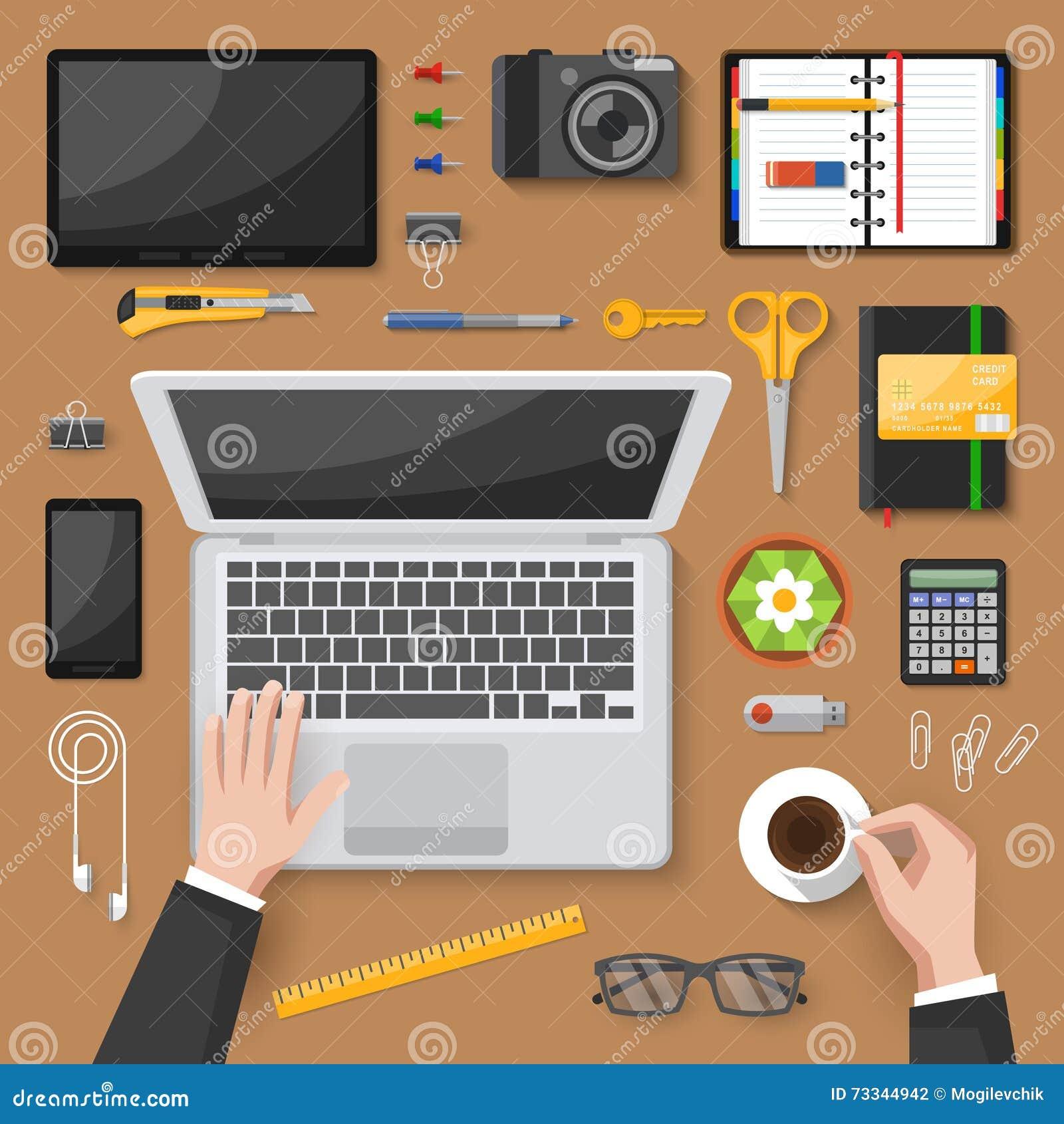 Office Desk Wallpaper: Office Desk Top View Design Stock Vector