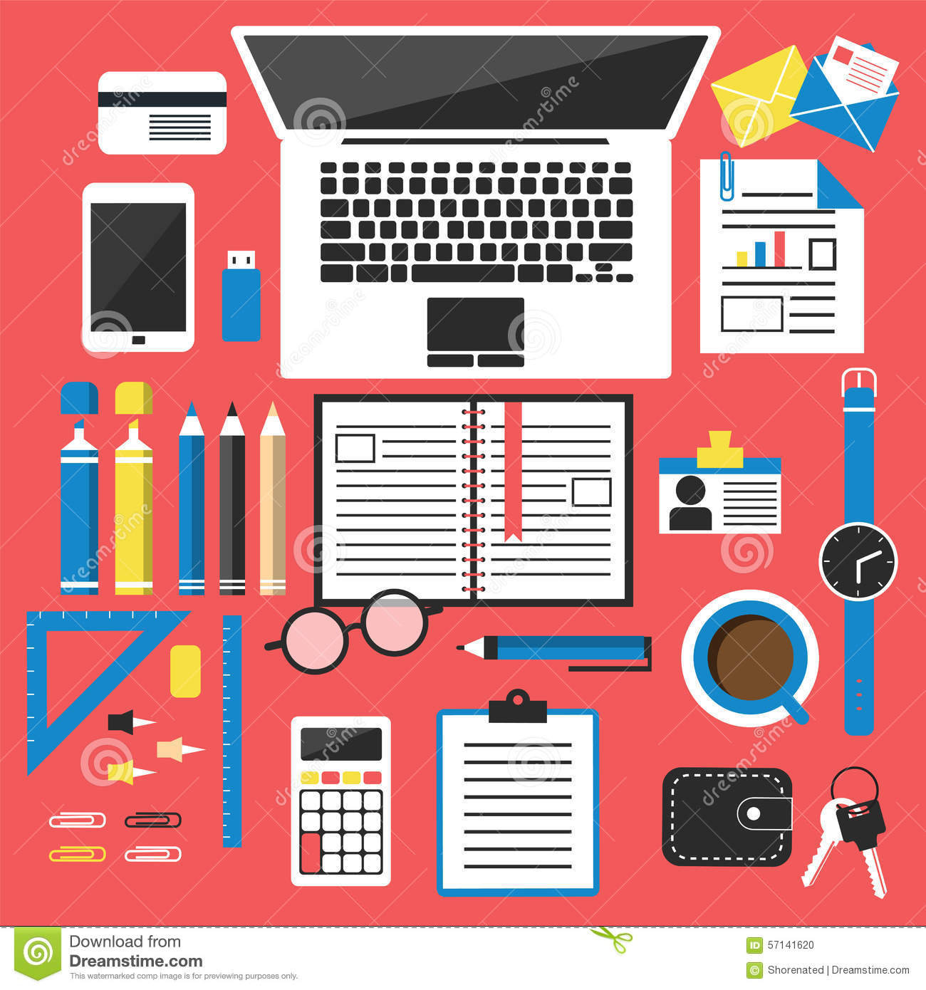 Office desk top view stock vector image 57141620 for Office design tool