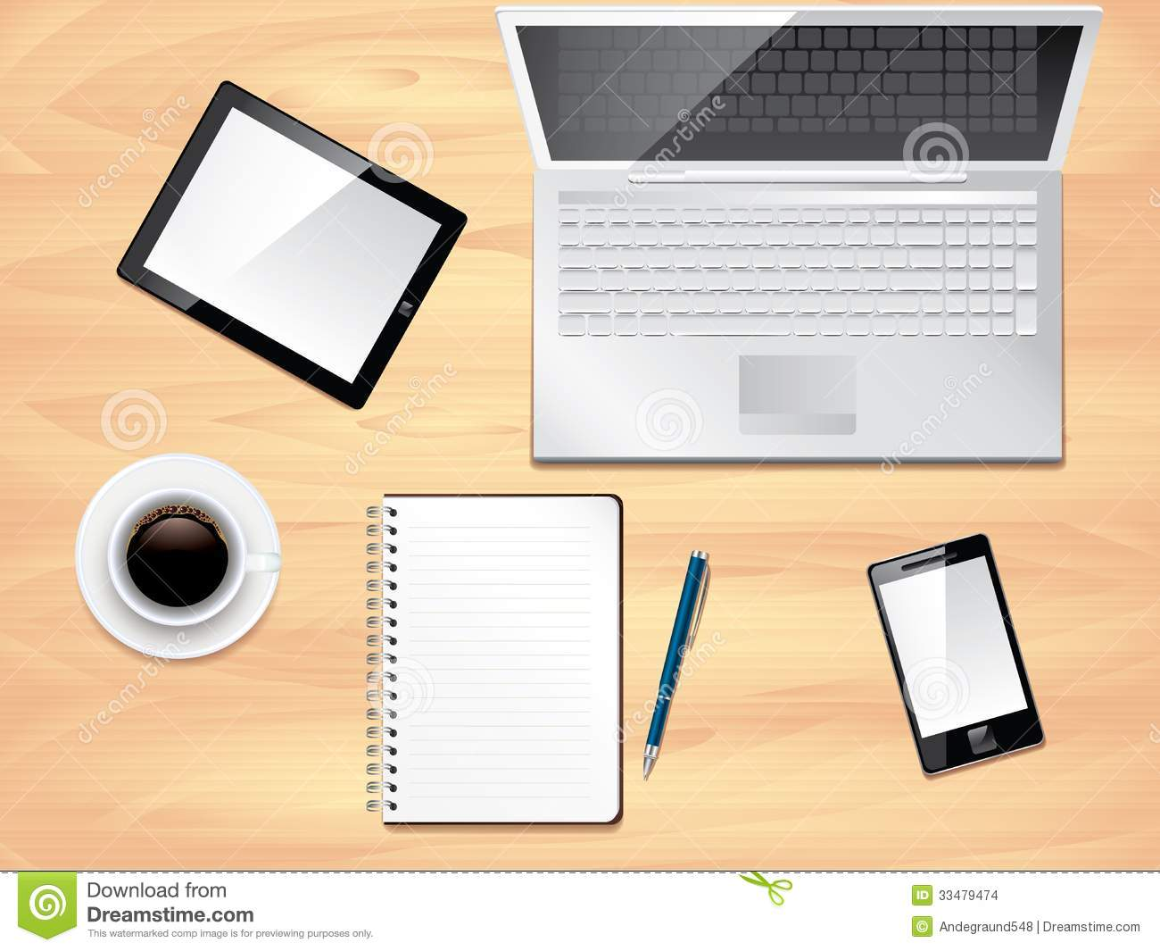 Office desk with laptop, notepad, tablet, smartphone and coffee cup ...