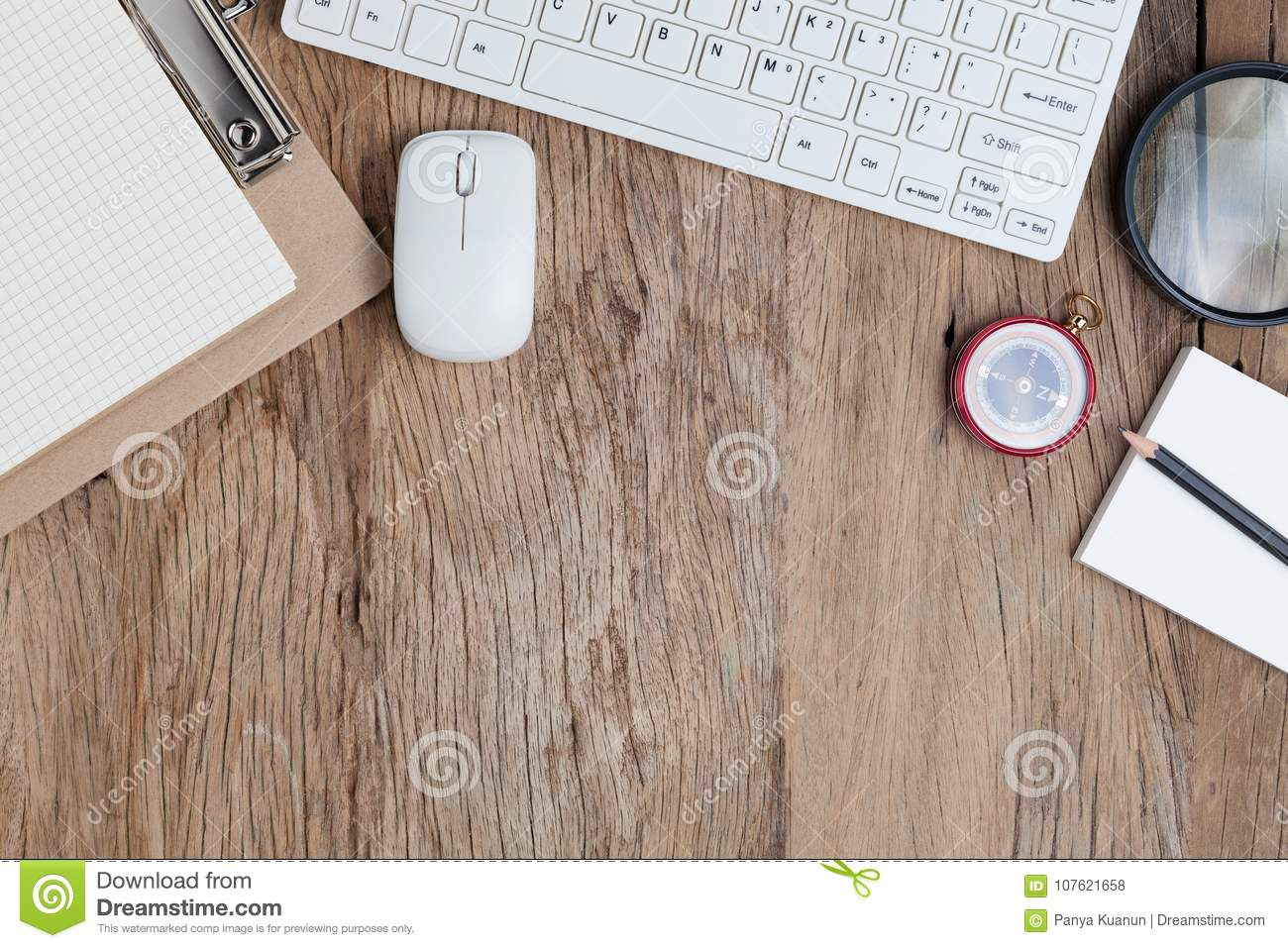 Office Desk Wood Table Of Business Workplace And Business Objects,concept  Business Planning And Direction Background