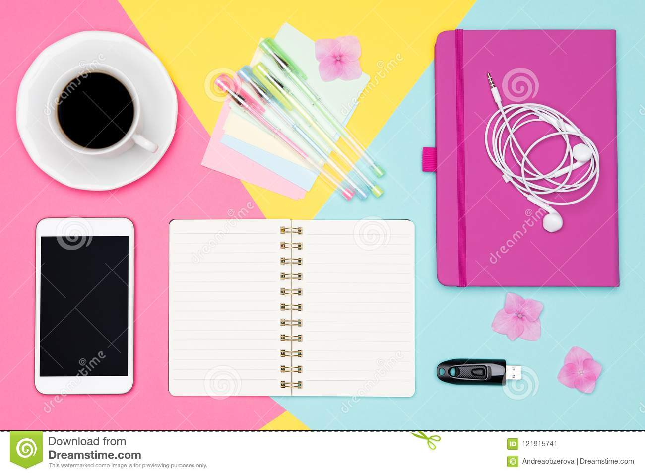 Office Desk Working Space Flat Lay. Top view photo of workspace with blank mock up smartphone, coffee cup and open notepad.
