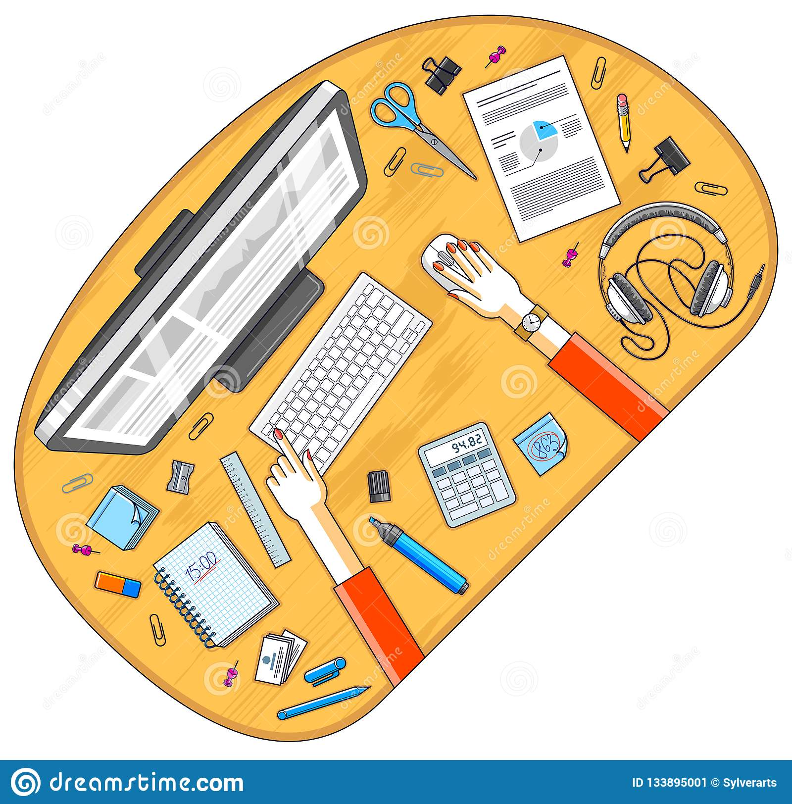 Office desk workspace top view with hands of office employee or