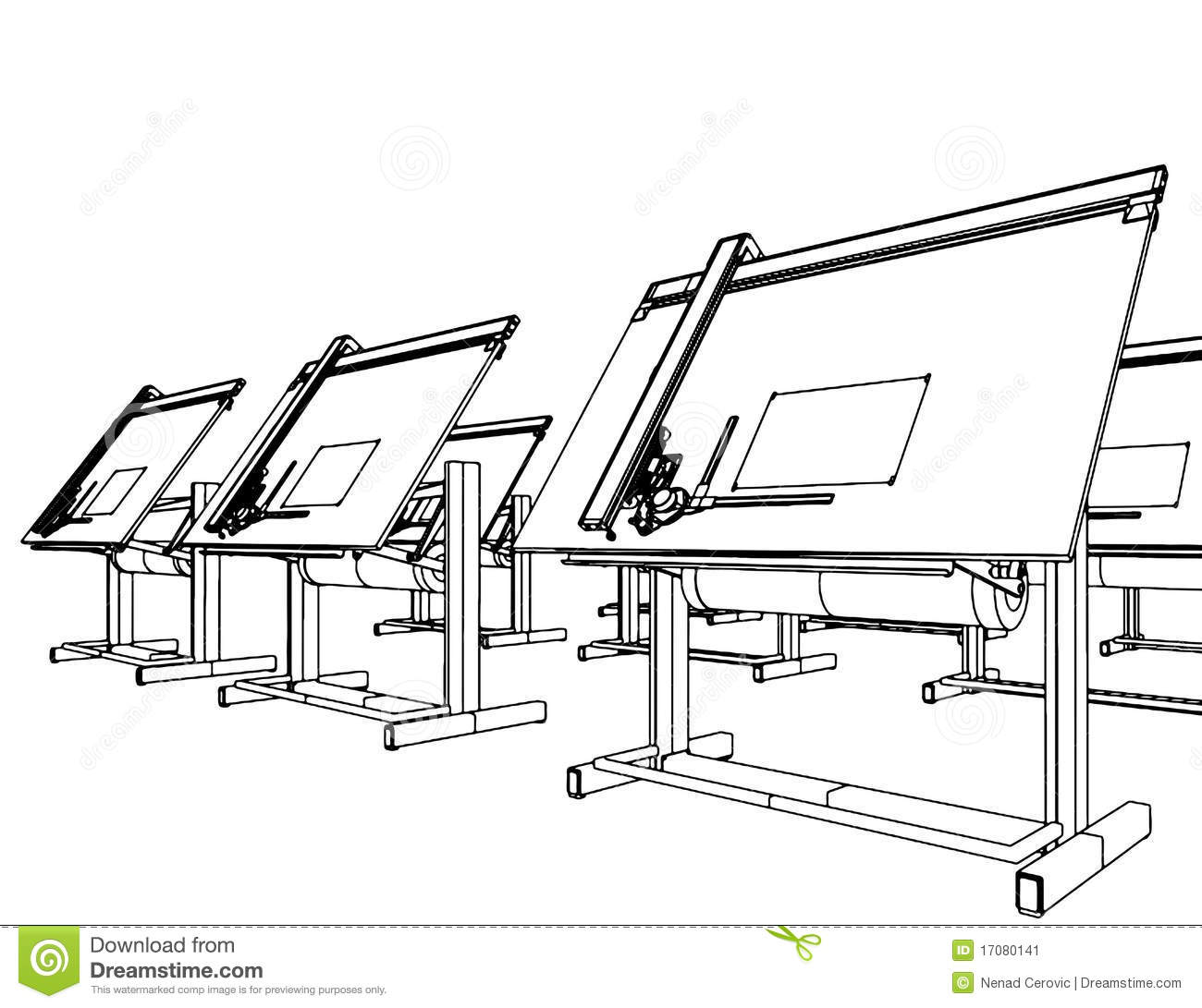 Office Desks For Drawing Vector 05