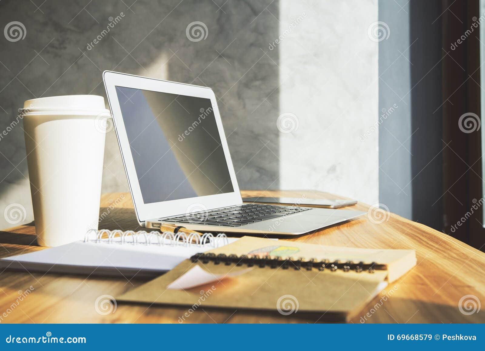 Office Desktop With Laptop Stock Image Image Of Desktop 69668579