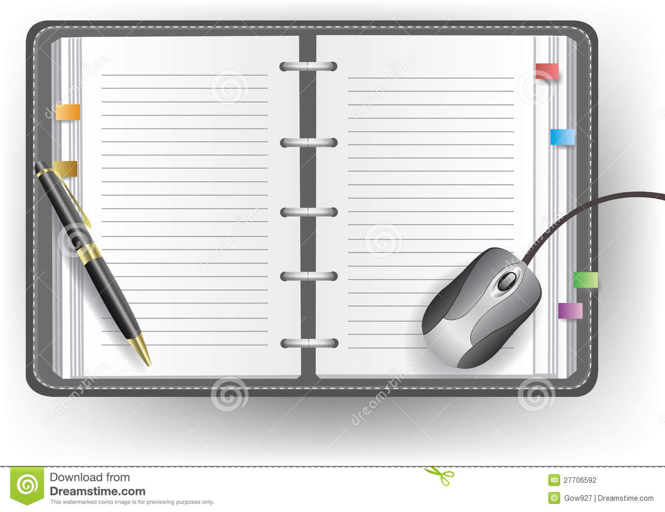 office diary with line  ballpoint pen  and mouse stock