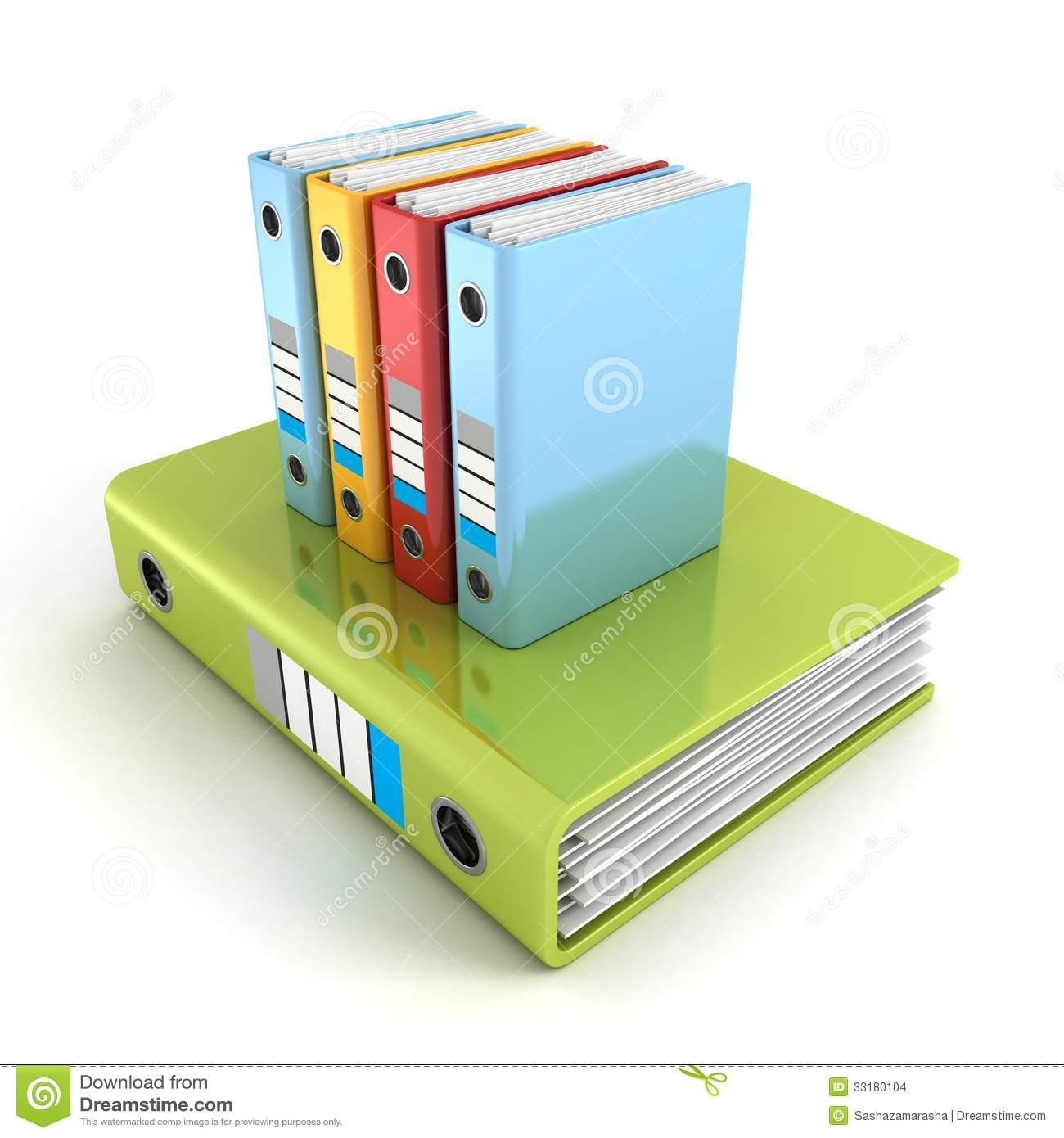 Office Document Ring Binders With File Papers Stock