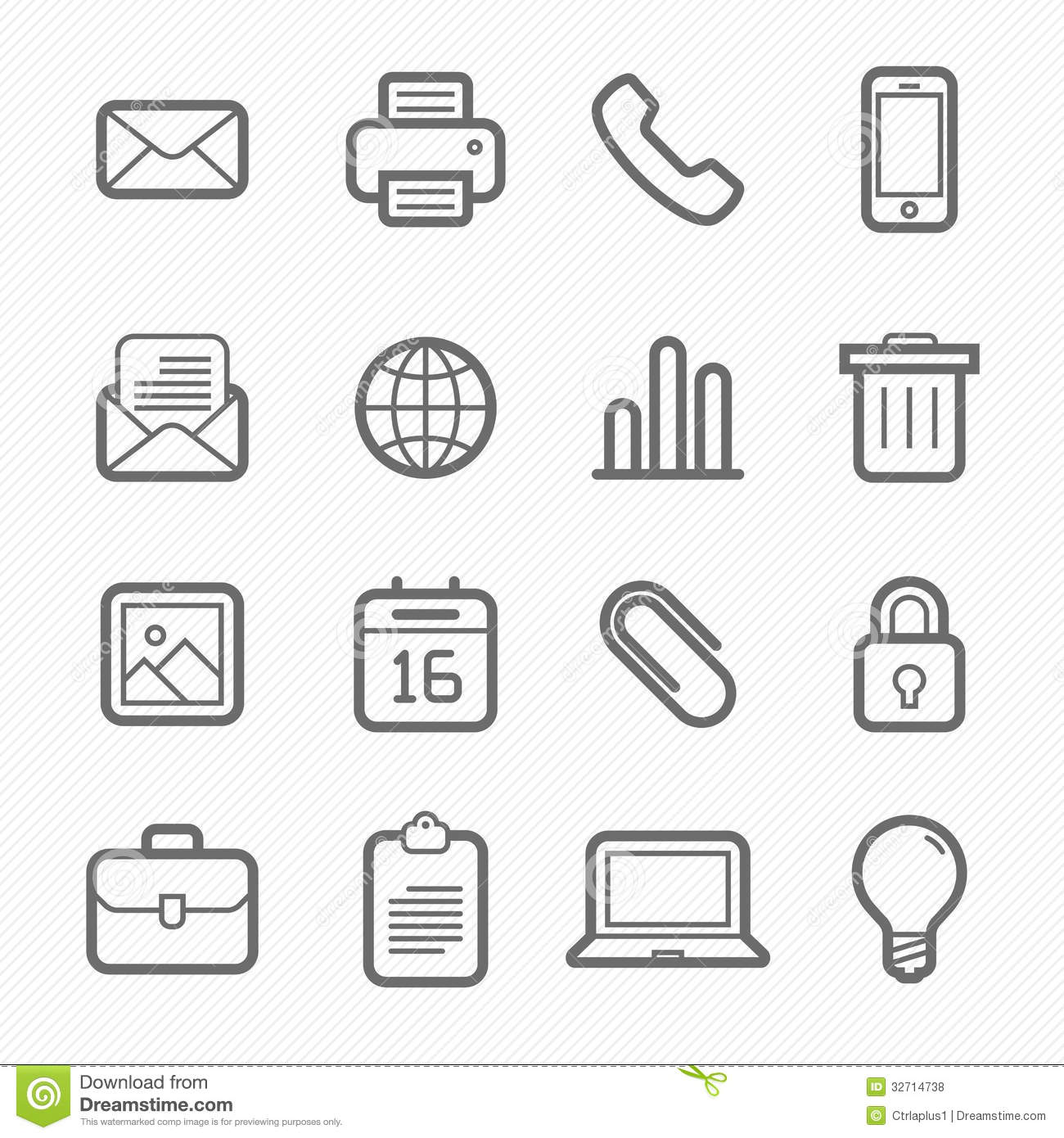 Office Elements Symbol Line Icon Set Stock Vector Illustration Of
