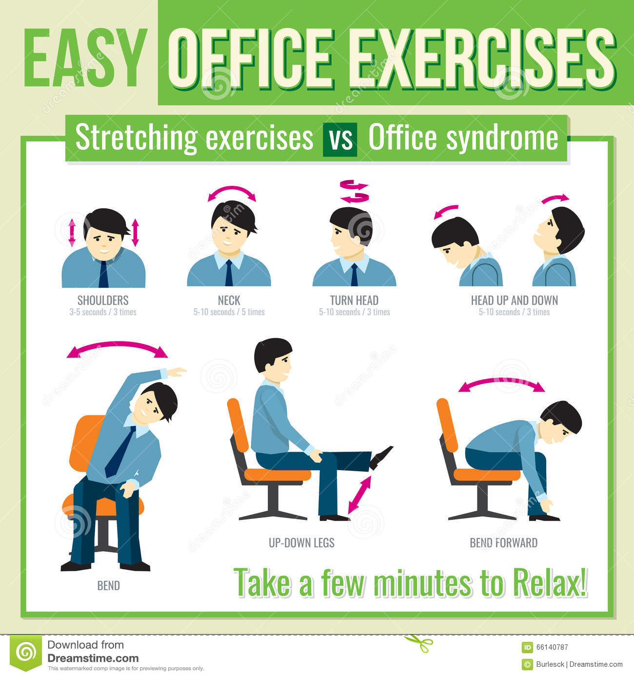 Office Exercises With Businessman Character Vector