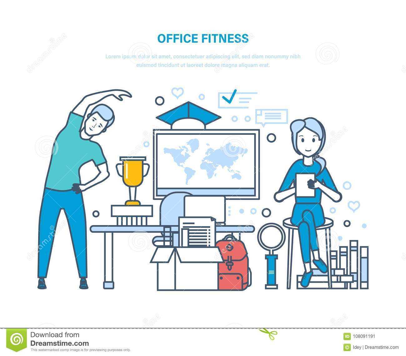Office fitness. Doing sports exercises, training, healthy lifestyle athlete.