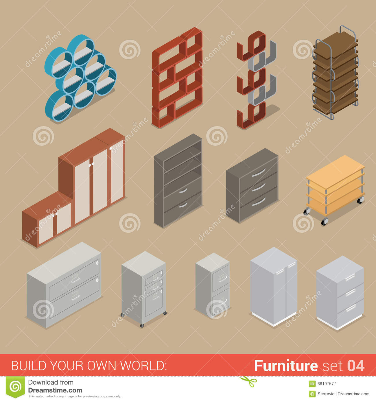 isometric office furniture vector collection. Office Folder Storage Cabinet Flat Vector Isometric Furniture Collection T