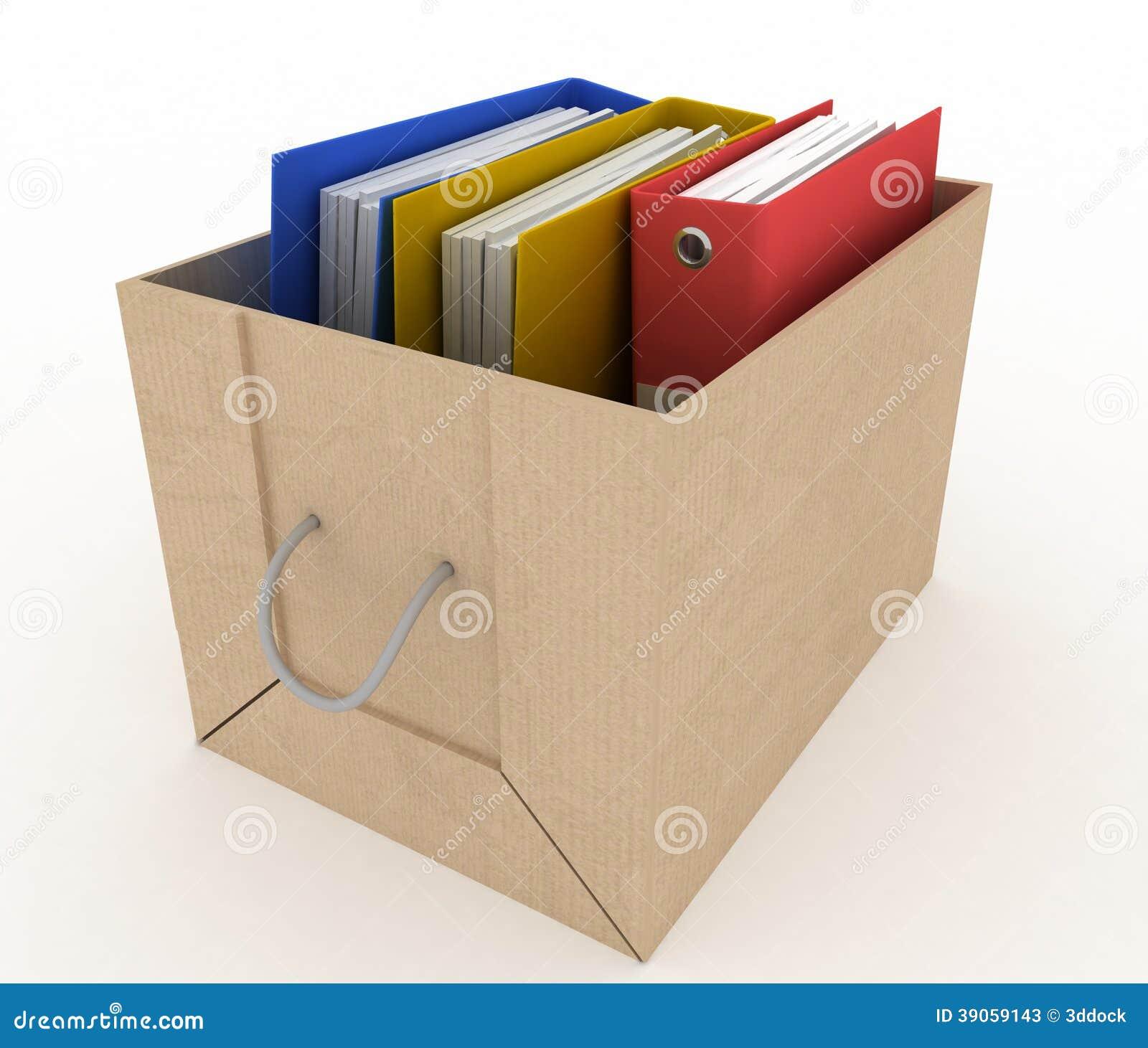Office Folders In Cardboard Box Stock Illustration - Illustration of