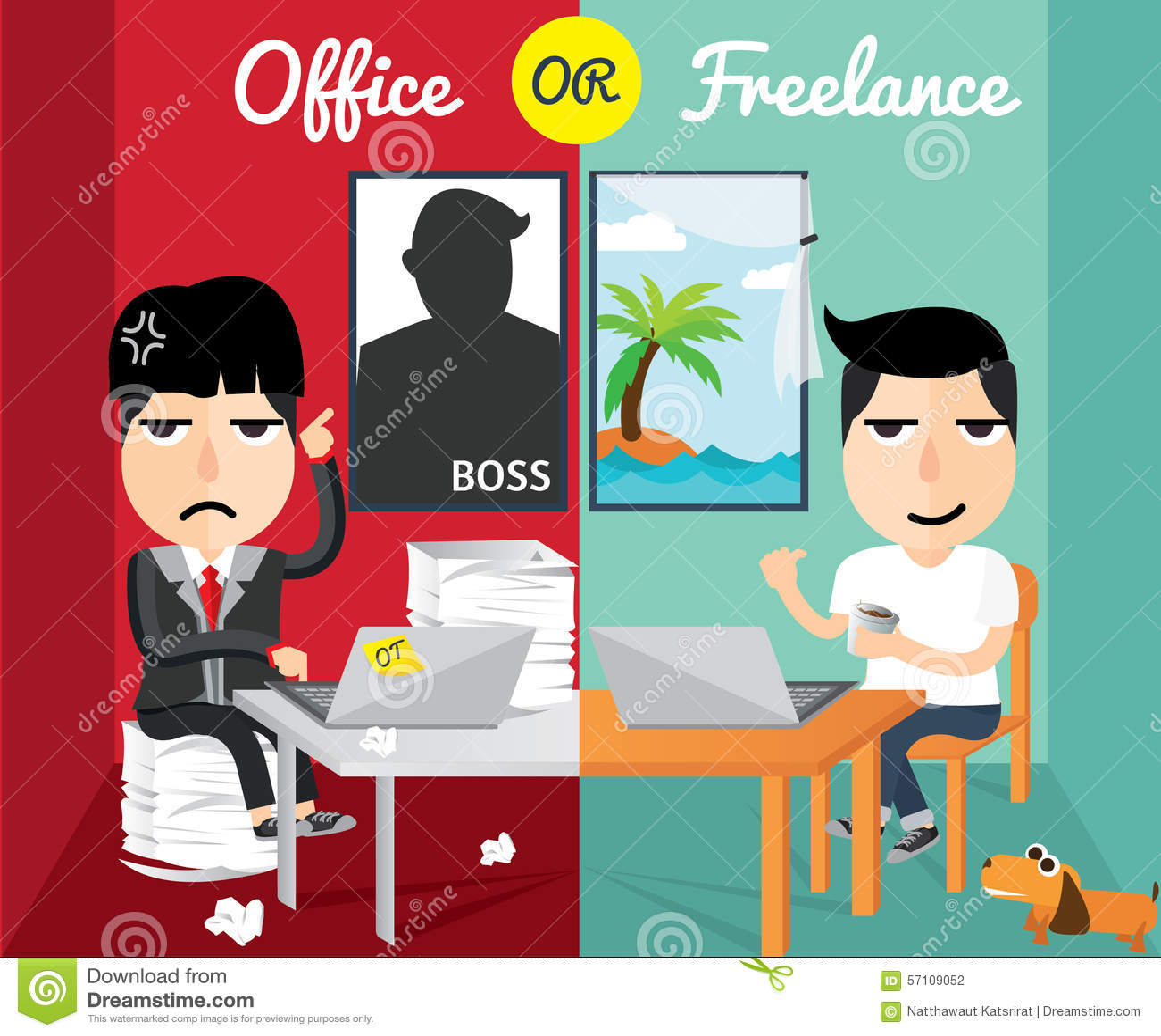 Office Or Freelance, Flat Design,character Design Stock Vector ...