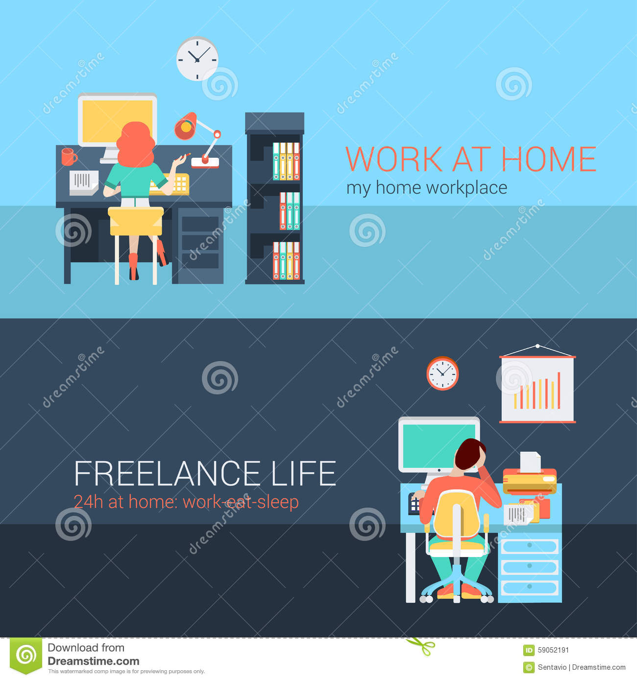 Office And Freelance Work In Workplace Furniture Vector Concept   Graphic  Design Work From Home Freelance