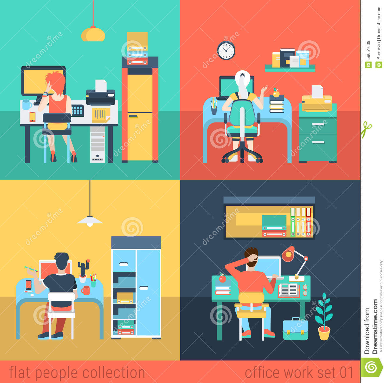 Office And Freelance Work In Workplace Furniture Vector