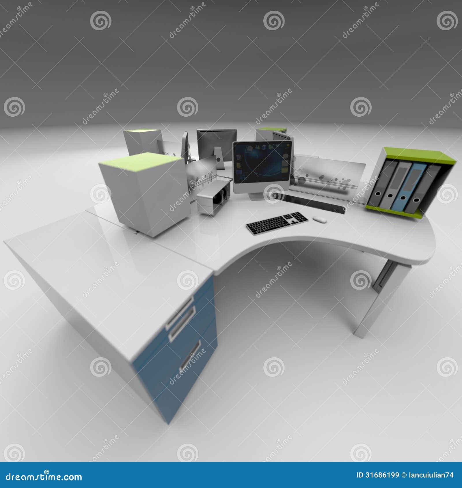 Office Furniture Design Rendering Studio Royalty Free
